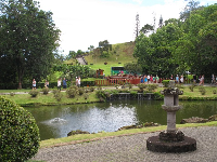 Looking from the temple across the pond to the entry bridge.