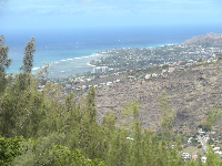 View of Diamond Head crater and the coastline at Kahala.