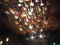 The electric guitars on the ceiling!