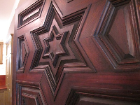 Engraved wooden door.