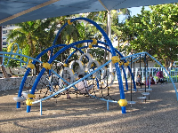 The space-age playground under a huge shade canopy.