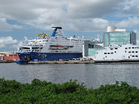 View of cruise ship in Port of Palm Beach.