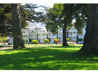 A daisy-covered grassy spot, with the Painted Ladies in view.