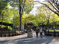 The Mall, where musicians gather along a long row of benches and statues of literary figures.