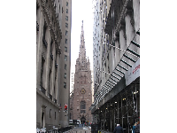 Trinity Church, at the end of Wall Street.