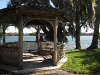 Gazebo with a lake view, at Rollins College.