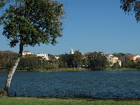 View of Rollins College from across the lake, on Lakeview Drive.