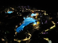 Hyatt Grand Cypress grounds at night.