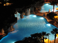 Nighttime swimming pool- magic!