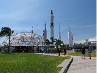 Playground's dome-shaped shade canopy and rocket garden.