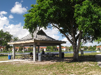 A gazebo by the lake.