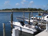 Boats docked at Ocean Inlet Park.