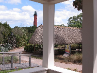 View of the lighthouse and the chickee hut from the Tindall house balcony.