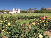 Santa Barbara Mission and rose garden across the street.