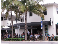 Sidewalk cafe and coconut trees.