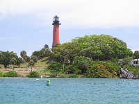The Jupiter lighthouse on its little hill.