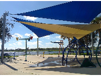 The splash pad with shade canopies.