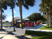 Benches and vast playground.