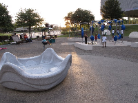 The playground and spinner at dusk.