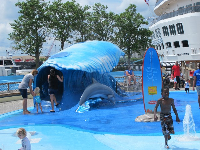 Outdoor splash park at the aquarium.