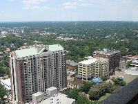 View of Kleman Plaza from the top of the capitol building.