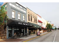 Shops and cafes along Woodlawn Blvd.