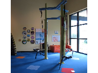 Kids can pull themselves up using a pulley.