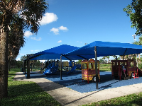 The two large blue shade canopies and the fire engine.
