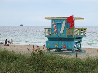 A colorful lifeguard shack we saw along the way, south of 1st St.