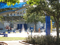 The splash pad and amphitheater are a popular place to hang out.