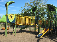 The lime-green playground.