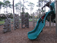 Slide and rock-climbing sections.