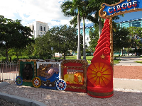 Circus cars decorate the Circus Park gate.