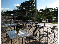 Sunny patio where you can enjoy your delicious sandwich!
