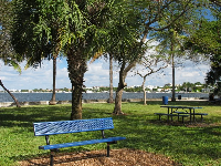 Sunny spot on the intracoastal at Bicentennial Park.
