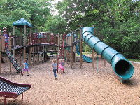 Tunnel slide at the playground.