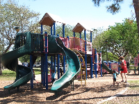 Play structure with tall slides.