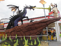 Dragon lego sculpture outside the Lego store.