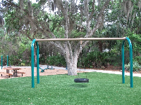 Tire swing and see-saw.