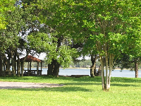 Grassy spot on the water in front of family housing at the base.