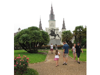Jackson Square, with its statue of Andrew Jackson on horseback.