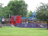 Wooden playground outside the museum.