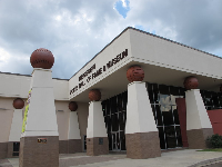 Sports-themed exterior of the museum.
