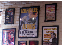Poster of Jerry Lee Lewis' fire on the piano trick, in the Jerry Lee Lewis Honky Tonk Cafe.