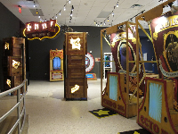 Attractive temporary exhibit on bugs, with a circus theme.