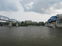 View of both bridges and the river bluffs, from Coolidge Park.