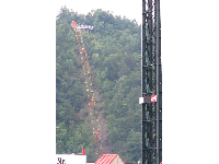 Gatlinburg Sky Lift goes up the steep mountain.