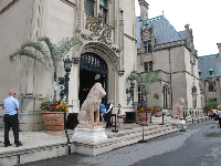 The entrance to the estate, with its lion statues.