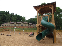 The playground, in the farm area of the estate.