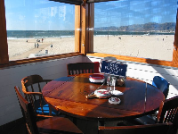 The amazing view from Bubba Gump on Santa Monica pier, usually a long wait to be seated.